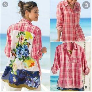Soft surroundings 1X Kaolin Shirt plaid & floral
